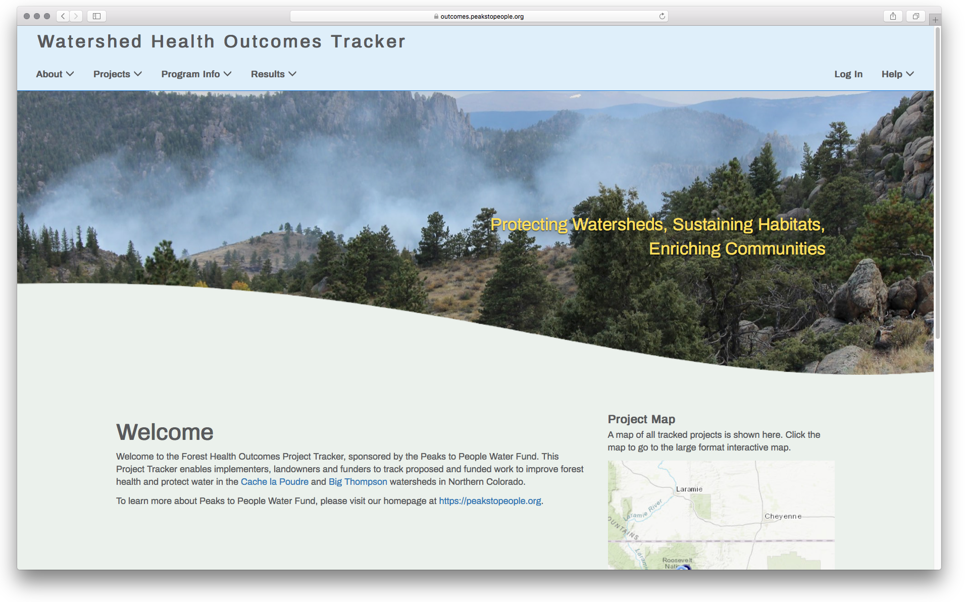 Peaks to People Watershed Health Outcomes Tracker